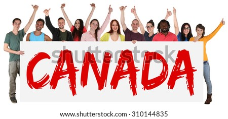 Canada immigration group of young multi ethnic people holding banner isolated - stock photo