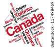 Canada map and words cloud with larger cities; vector version is also available - stock vector