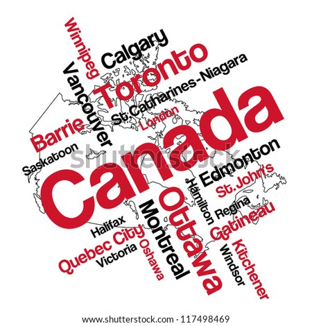 Canada map and words cloud with larger cities; vector version is also available - stock photo