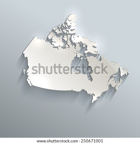 Canada map blue white card paper 3D raster  - stock photo