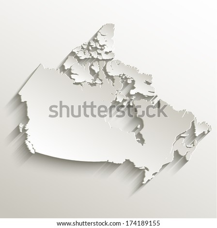 Canada map card paper 3D natural raster blank - stock photo