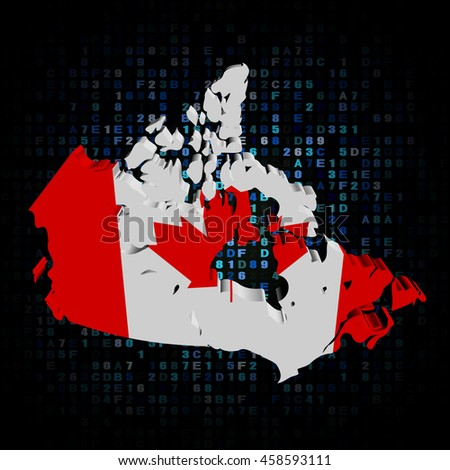 Canada map flag on hex code 3d illustration