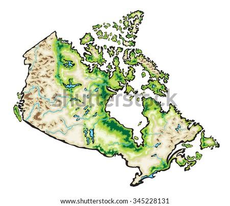 Relief Map Canada 3drendering Stock Illustration 497023624