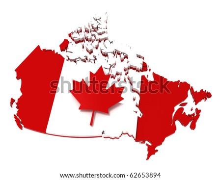 Canada, map with flag, with clipping path. 3d illustration, isolated on white - stock photo