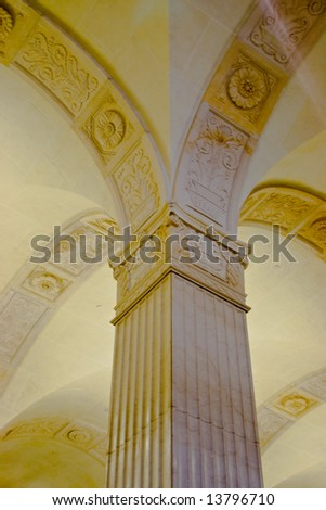 Canada Permanent Building. Corinthian columns are Canadian symbol of wheat sheaves restored in 2001 - stock photo