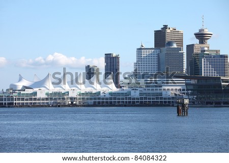 Canada Place in Vancouver BC Canada a port of entry & departure for cruise ships. - stock photo