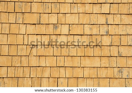 Canada, Quebec, wooden tiles on a wall of an house