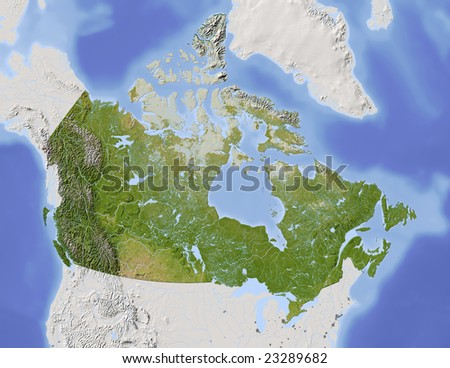 Canada. Shaded relief map, with major urban areas. Surrounding territory greyed out. Colored according to vegetation. Includes clip path for the state area