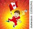 Canada Sport Fan with Flag and Horn - stock photo