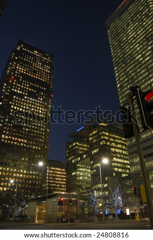 Canada Square at night, Canary Wharf, London, England