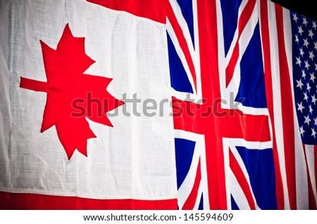 Canada, United States and United Kingdom flag - stock photo