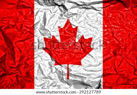 Canada vintage flag on old crumpled paper background - stock photo