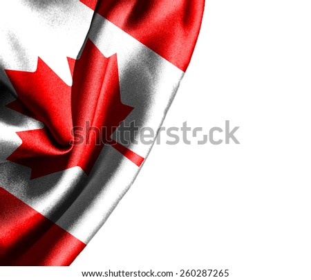 Canada waving silky flag isolated on white background - stock photo