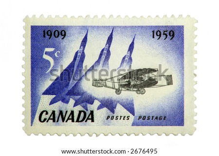 Canadian 5 Cent Postage Stamp of the Avrow Arrow and Silver Dart, printed in 1959.