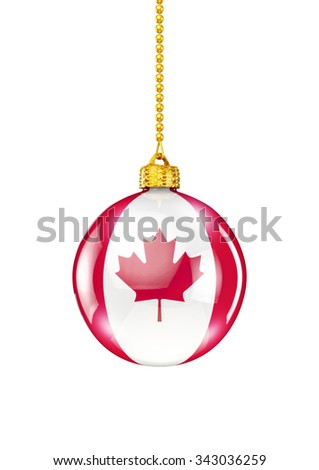 Canadian christmas ornament / 3D render of christmas ornament with Canadian flag - stock photo