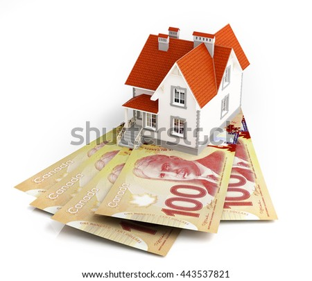 Canadian dollar banknotes under house. 3d rendering. - stock photo