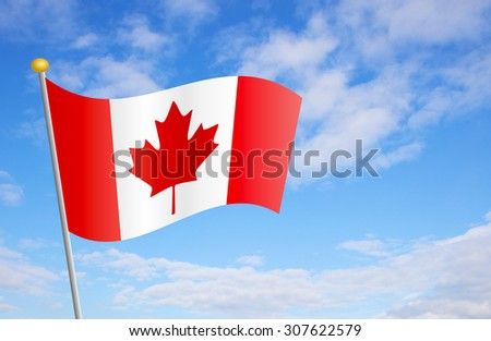 Canadian flag against cloudy blue sky background