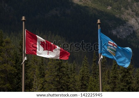 Canadian Flags Canadian Flag And Alberta Flag
