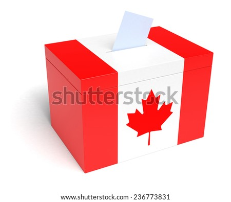 Canadian Flag Ballot Box, 3D Rendering - stock photo