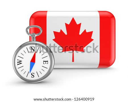 Canadian flag.Isolated on white background.3d rendered. - stock photo
