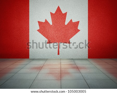 Canadian flag on the wall in empty room, studio background - stock photo