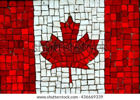 Canadian flag on tiles.