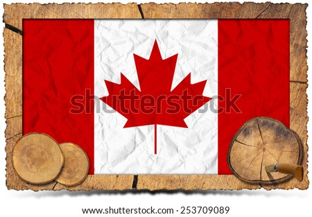 Canadian Flag on Wooden Photo Frame. Rectangular wooden frame with flag of Canada and sections of tree trunk isolated on white background - stock photo