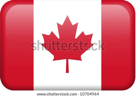 Canadian flag rectangular button.  Part of set of country flags all in 2:3 proportion with accurate design and colors. - stock photo