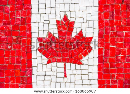 Canadian flag with mosaic texture - stock photo