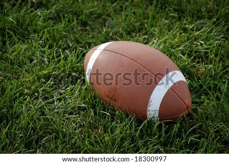 Canadian football ball on the green grass - stock photo