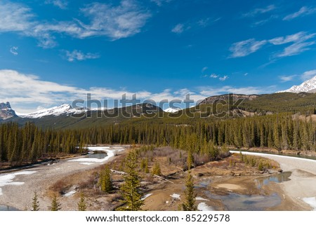 Canadian landscape with rivers and trees in Alberta - stock photo