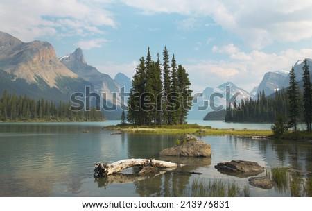 Canadian landscape with Spirit island. Jasper. Alberta. Horizontal - stock photo