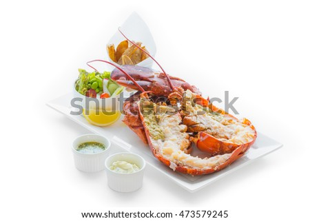 Canadian Lobster with  Garlic Cream Sauce, isolated on white