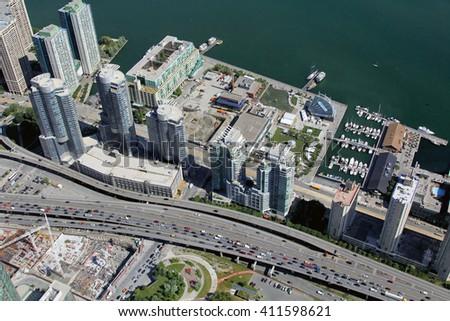Canadian metropolis Toronto hot summer aerial view  - stock photo