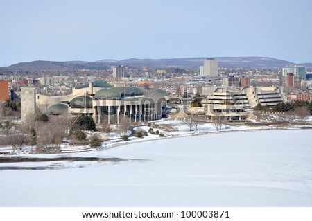 Canadian Museum of Civilization in winter, viewed from Ottawa Parliament Hill, Gatineau, Quebec, Canada - stock photo
