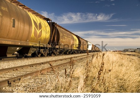 Canadian railway grain cars. - stock photo
