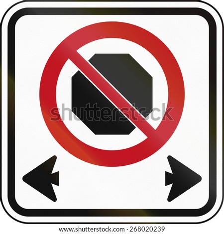 Canadian road sign: No stopping