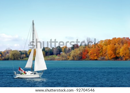 Canadian sailboat in the autumn - stock photo