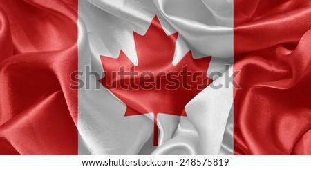 Canadian satin flag - stock photo