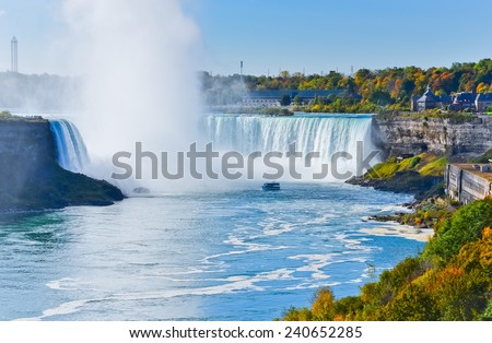 Canadian side of Niagara Falls in autumn - stock photo