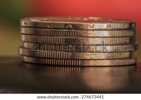 Canadian Stack of  One Dollar Coins - Loonies - stock photo