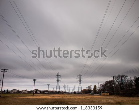 Canadian Transmission Lines Terminating in the middle of the city - stock photo