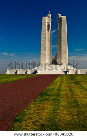 Canadian war memorial monument at Vimy, France. - stock photo
