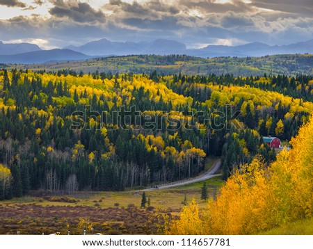 Canadian West scenic view of Kananaskis Country - days prior to the first snow - stock photo