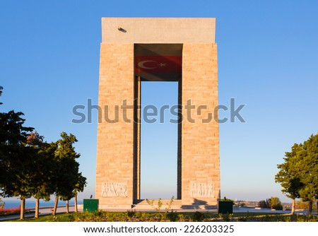 Canakkale Martyrs' Memorial, Turkey for battle of Gallipoli
