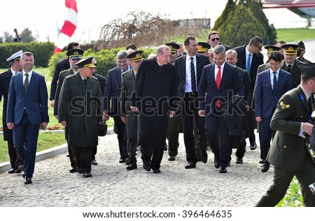 CANAKKALE, TURKEY - MARCH 18: President Recep Tayyip Erdogan attended the Gallipoli war ceremony  on March 18, 2016 in Canakkale, Turkey