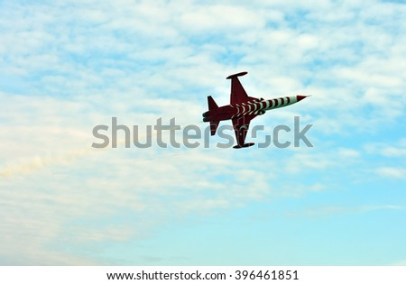 "CANAKKALE, TURKEY - MARCH 18: Turkish Air Force Aerobatic Demonstration Team ""Turkish Stars"" performs during Canakkale battle anniversary on March 18, 2016 in Canakkale, Turkey"