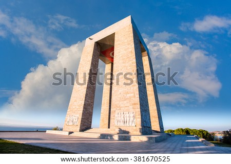 CANAKKALE, TURKEY - OCTOBER 20 , 2014:Canakkale Martyrs' Memorial against to Dardanelles Strait - stock photo