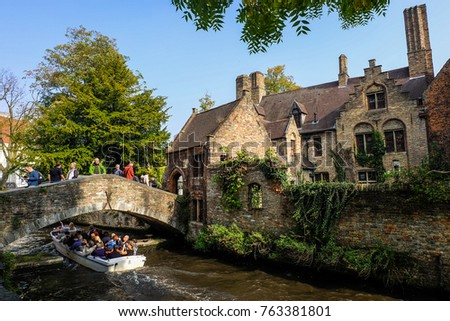 Canal and cruise in Brugge, Belgium, September 2017