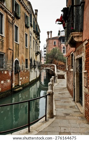 Canal and Historic Houses in Venice, Italy
